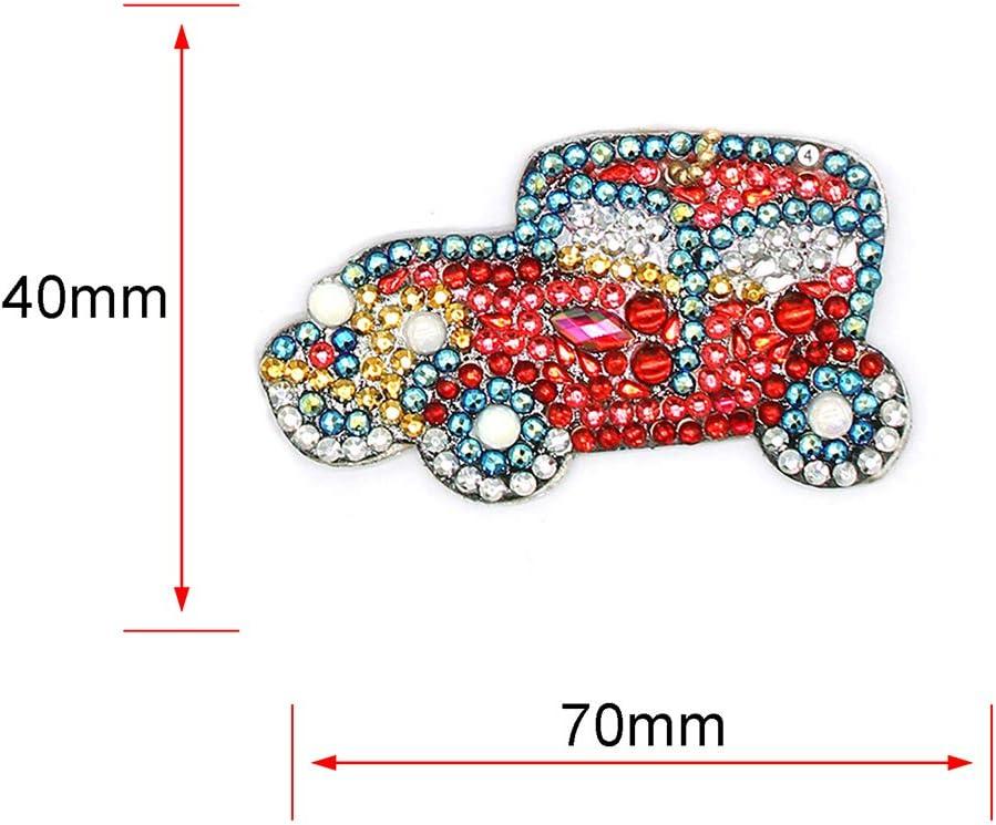 Matefield 5 Pack Crystal Rhinestone Keyrings DIY Diamond Painting Car Wheel Keychain Keyrings for Women Girls Bag Purse Handbag Charms Pendant Birthday Christmas Gift