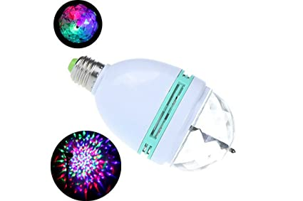 Lampada lampadina led rgb rotante multicolore w attacco e