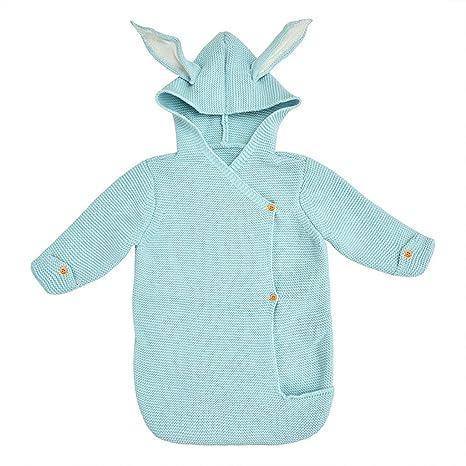 Saco de dormir para bebés, lindas orejas de conejo Saco de dormir de punto con