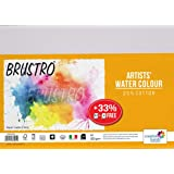 Brustro Artists Watercolour Paper, A4 Size, 200 GSM, 25% Cotton CP, 12 + 4 Sheets Free (Pack of 2)