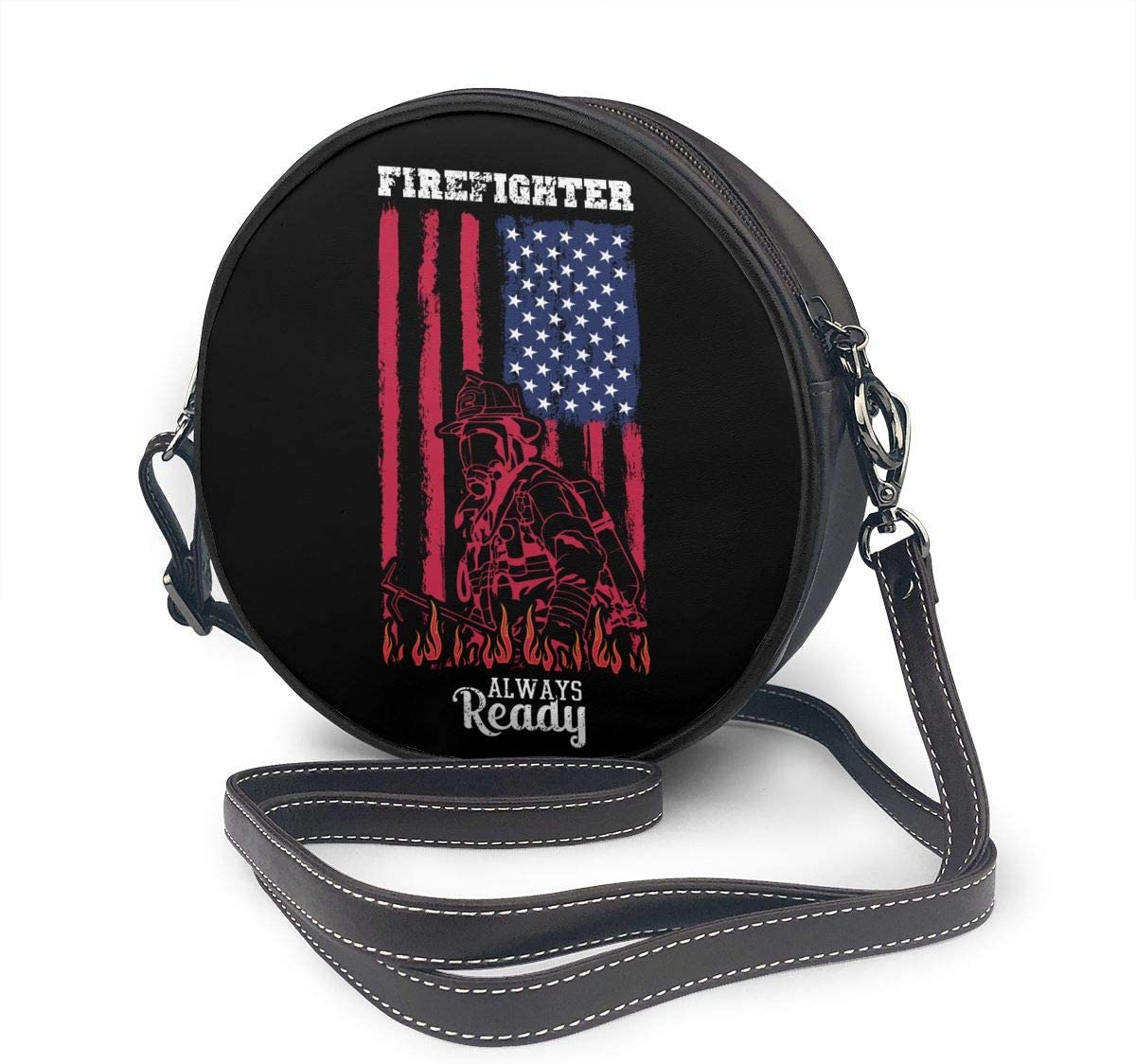 Firefighter Always Ready Flag Womens Round Messenger Shoulder Bags Small Wallet School Business Work Bag