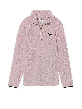 b13f3bf3a3a76 Victoria's Secret Pink Sherpa Boyfriend Quarter Zip Pullover Soft ...