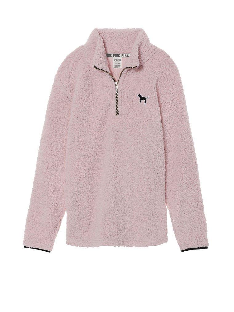 VS PINK Victoria's Secret Pink New! Sherpa Boyfriend Quarter-Zip (Baby Pink, Small)