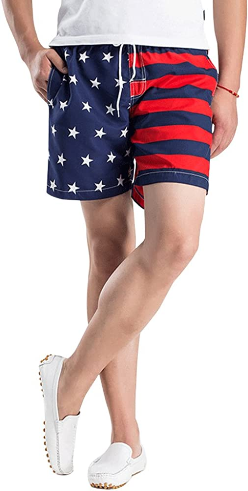 OCHENTA Men's Quick Dry American Flag Trunk Shorts, Drawstring Swimming Boardshort