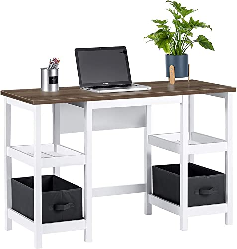 ChooChoo White Writing Desk with Shelves, Office Computer Desk for Bedroom Living Room – Includes 2 Removable Baskets