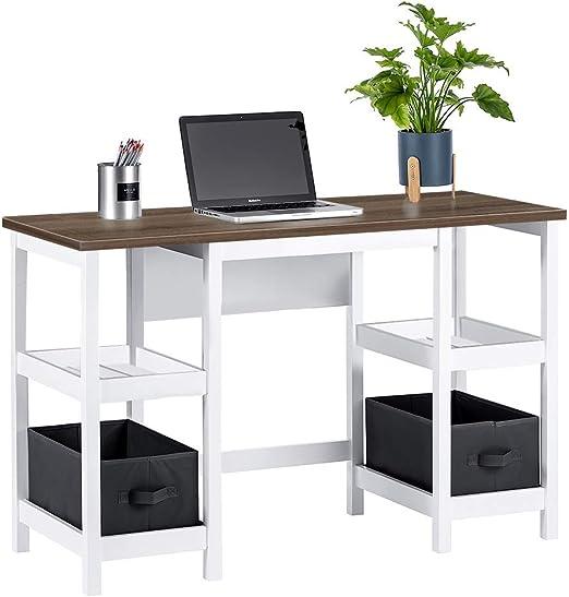 ChooChoo White Writing Desk with Shelves, Office Computer Desk for Bedroom  Living Room - Includes 2 Removable Baskets