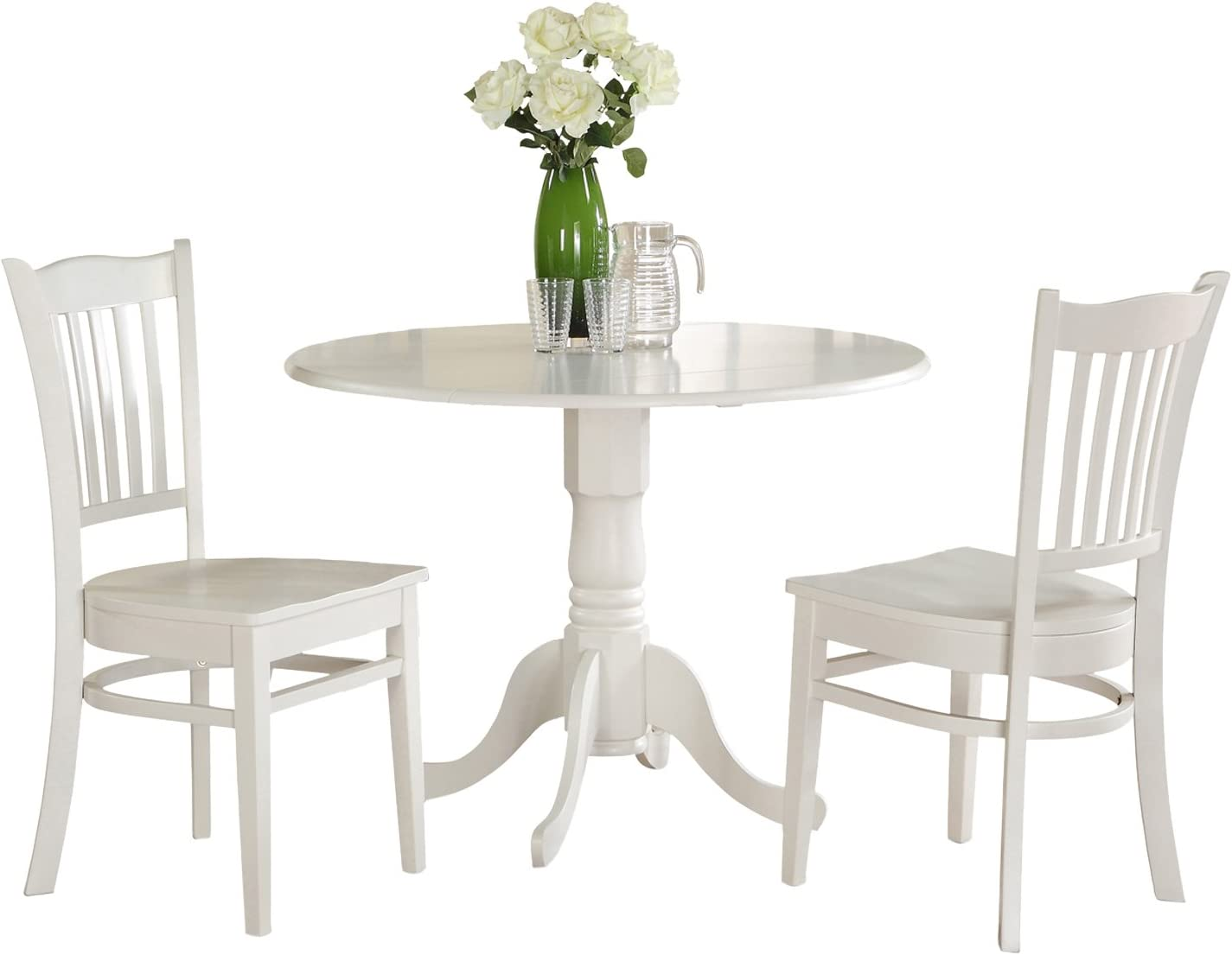 DLGR3-WHI-W 3 PC small Kitchen Table set-Kitchen Table and 2 Kitchen Chairs.