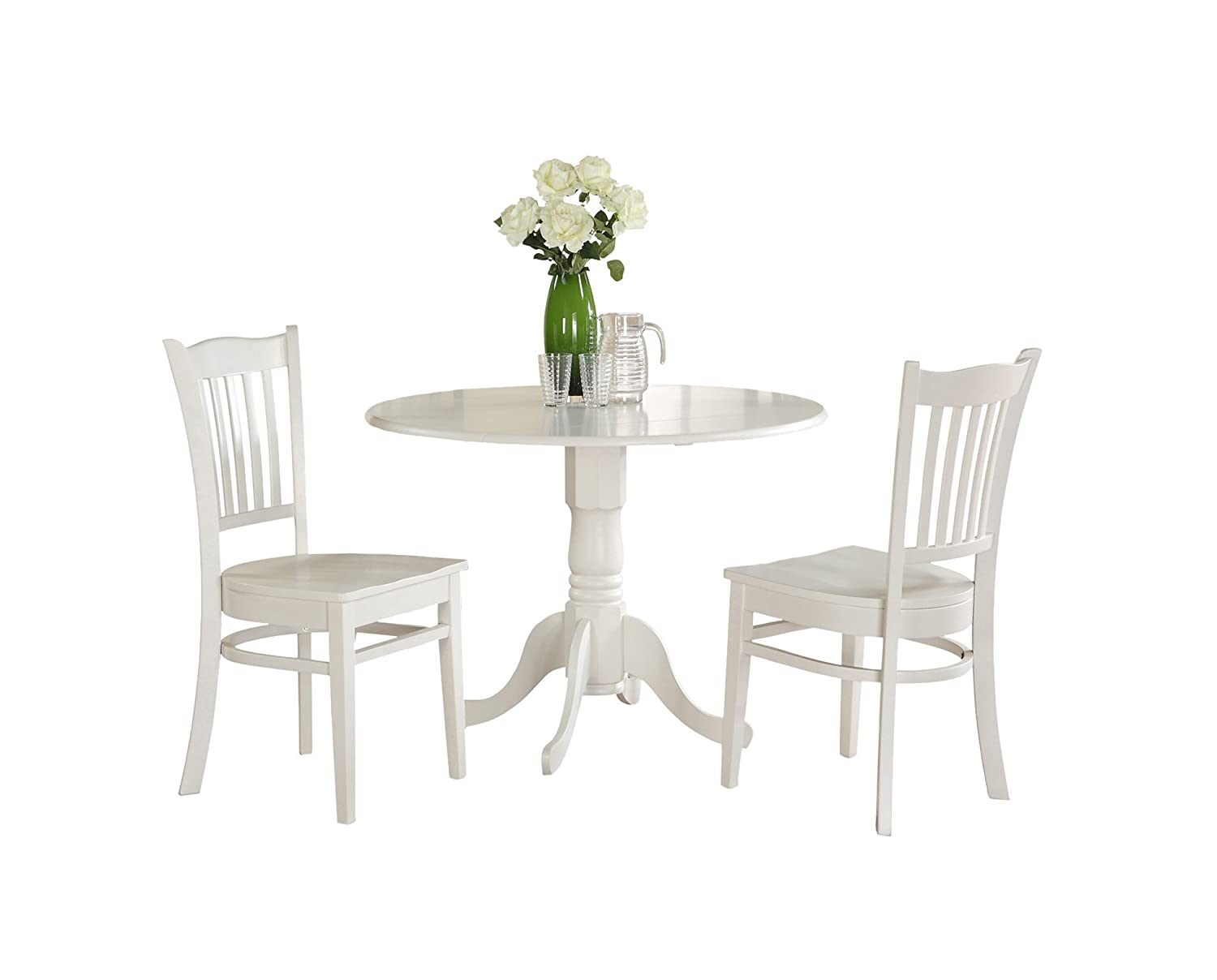 East West Furniture DLGR3-WHI-W 3-Piece Kitchen Table Set, Linen White Finish
