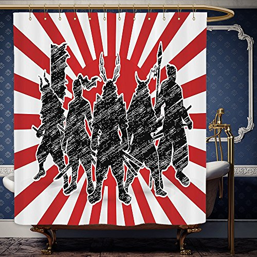 Wanranhome Custom-made shower curtain Japanese Group Of Samurai Ninja Posing And Getting Ready On Unusual Striped Retro Backdrop Print Red Black For Bathroom Decoration 60 x 78 - Yourself Do It Ninja Costume