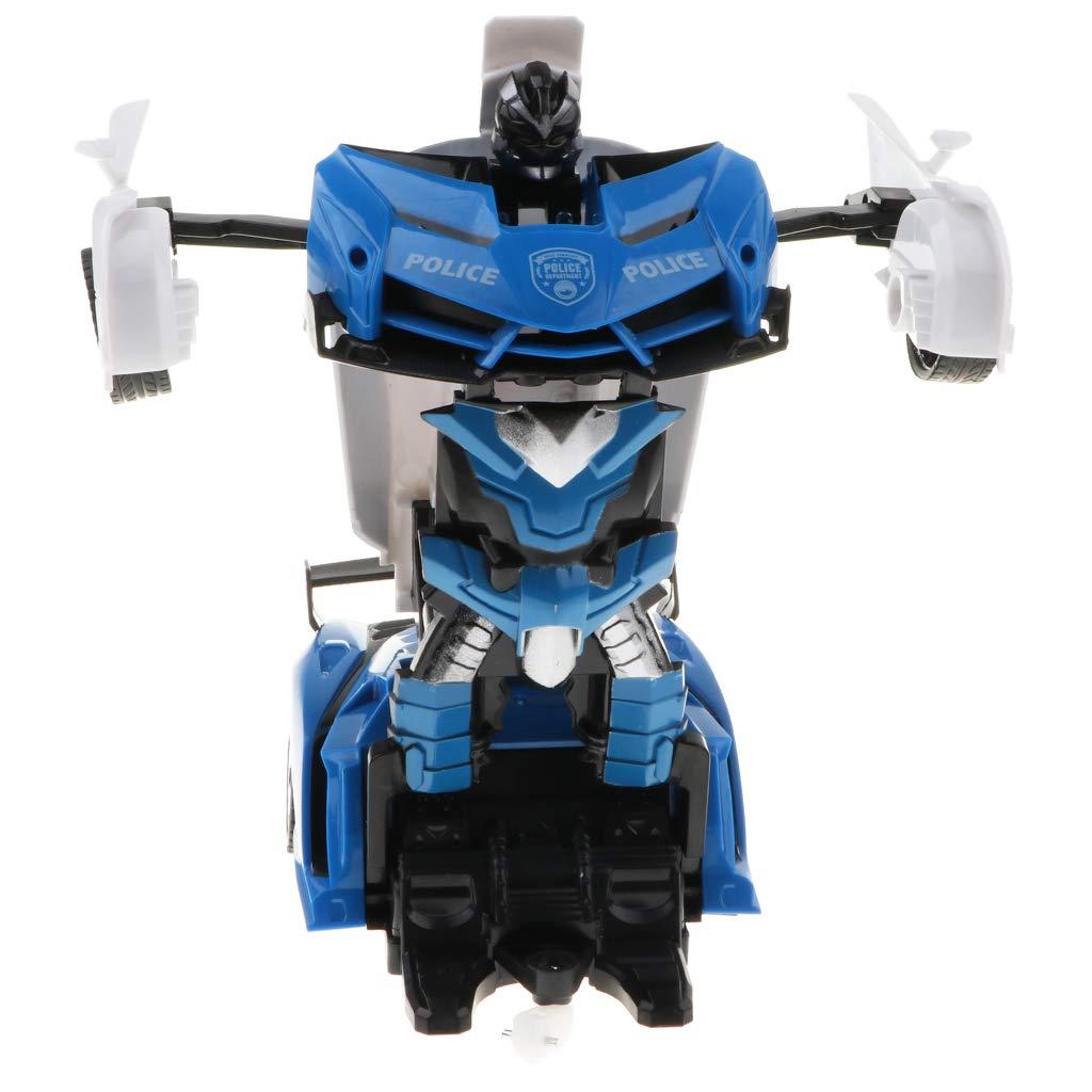 Homyl Trasformazione del Giocattolo della Macchina da Corsa del Telecomando 2-in-1 Dentro Robot con Luci Flash Sound Gioco di Fantasia per Bambini Blu B