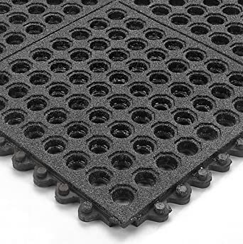 """Wearwell Nitrile Rubber 576 24/Seven GritWorks Anti-Fatigue Mat, for Wet Areas, 3' Width x 3' Length x 5/8"""" Thickness, Black"""