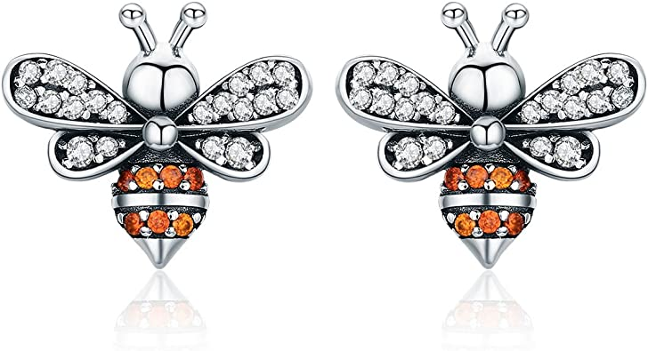 925 Sterling Silver Bee Story Clear CZ Exquisite Stud Earrings for Women Fashion Silver Jewelry