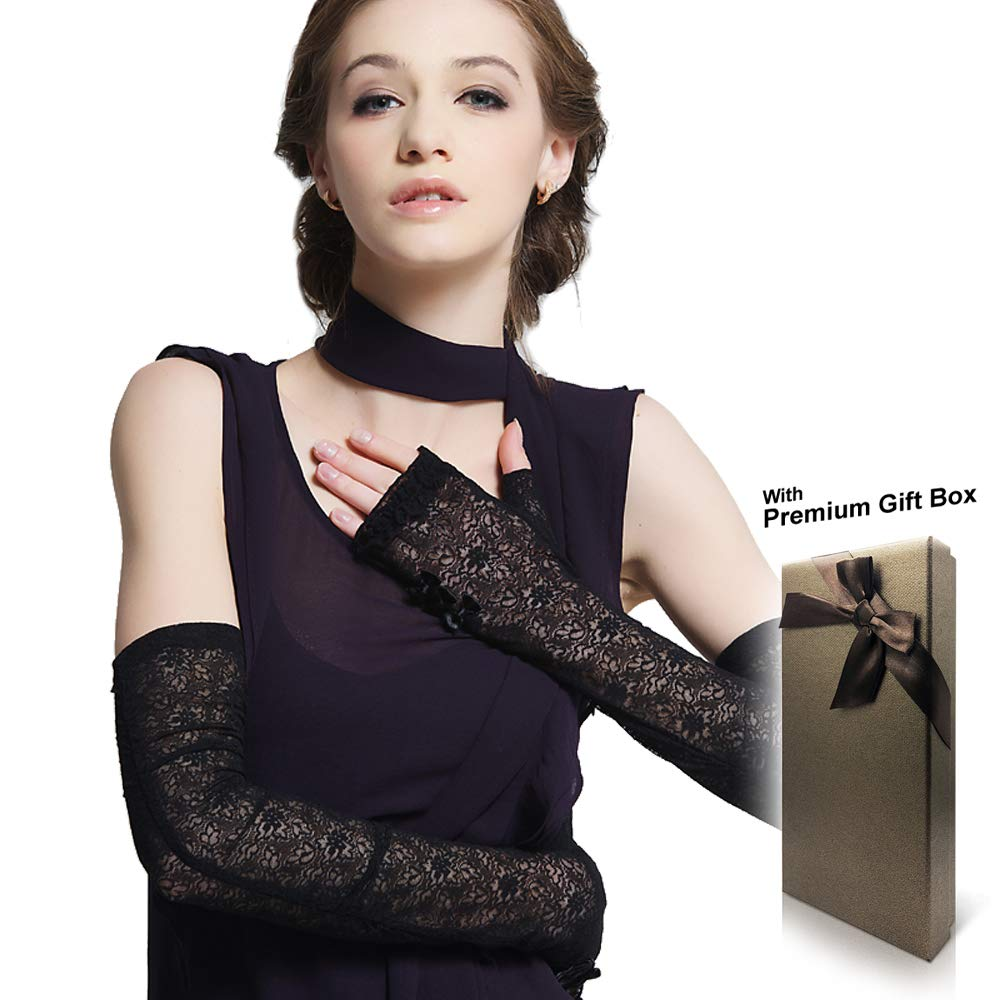 Women's UV Protection Long Lace Fingerless Gloves for Driving/Party/Evening with Gift Box