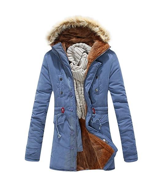 Faux Largo Invierno De Hombre Fur Chaqueta Parka Capucha Hooded XABXx6awq