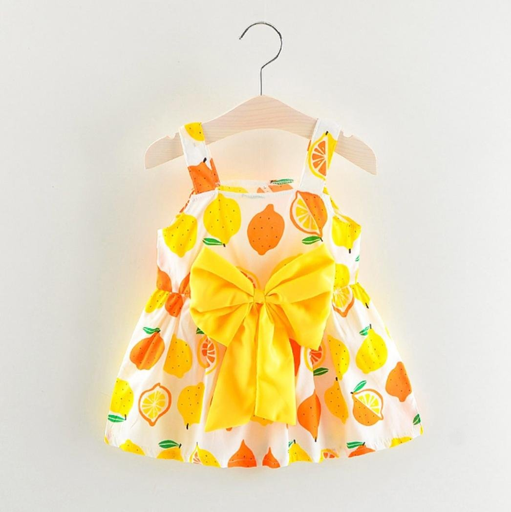 743bc5653b Amazon.com  Summer Newborn Infant Baby Girls Dresses Cuekondy Casual Lemon  Print Bowknot Strap Party Princess Sundress Skirt for 6-24 Months (24M