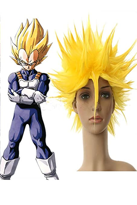 Hmy diseño de la peluca de Dragon Ball Vegeta super saiyan, de nailon, amarillo