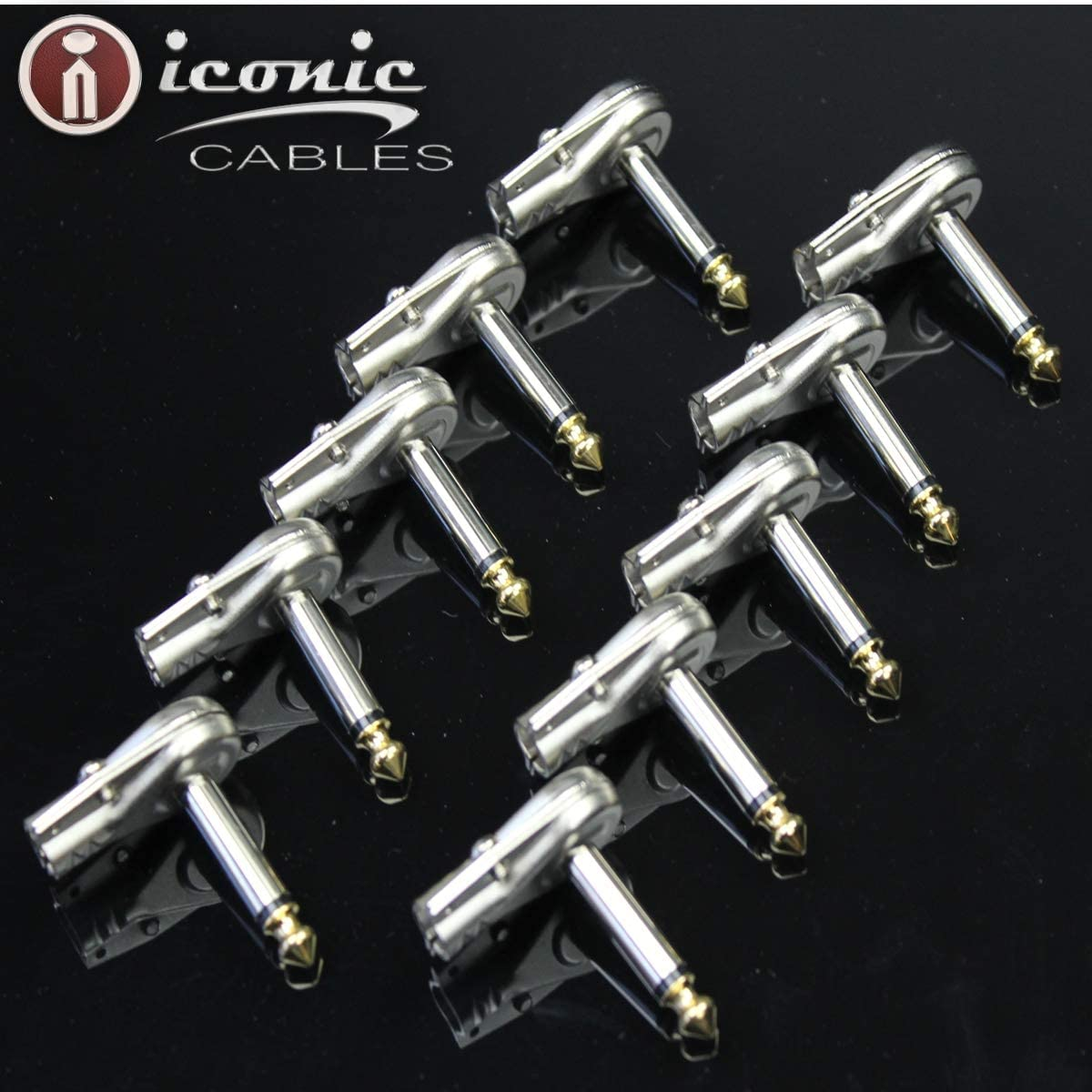 10 Pack Iconic Pancake Low Profile 1//4 6.35mm Audio Cable Plug Connector