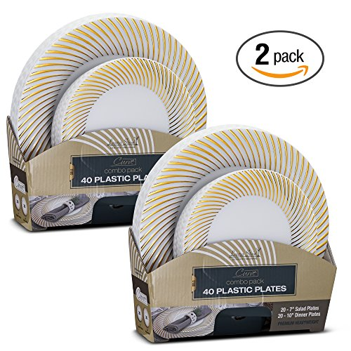 Laura Stein Designer Tableware Set of 80 Party Plates White And Gold Rim Curve Series Includes 40 -7.5'' Salad Plates & 40- 10.75'' Dinner Plates Heavy Duty Plastic Disposable Dishes (Dinner Party Tableware)