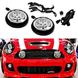 iJDMTOY Black Finish LED Rally Driving Lights with Halo Ring LED Daytime Running Lamp Assembly For MINI Cooper