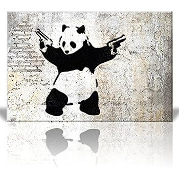 "Wall26 -""Stick'em up"", Banksy Artwork - Panda Bear with Handguns - Street Art/Guerilla Spray Paint - Canvas Art Home Decor - 24x36 inches"