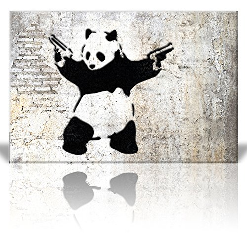 Stick'em up Banksy Artwork Panda Bear with Handguns Street Art Guerilla Spray Paint