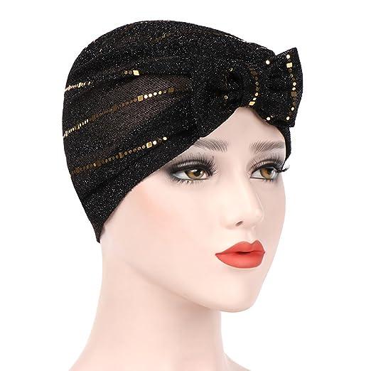 TRENTON Fashion Shimmer Bowknot Muslim Head Wrap Scarf Turban Hijab Cap Hat for Women (Black