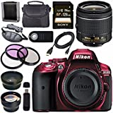 Nikon D5300 DSLR Camera with AF-P 18-55mm VR Lens (Red) + Sony 128GB SDXC Card + Carrying Case Bundle
