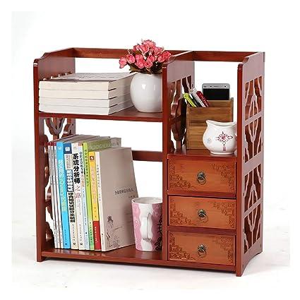 Bamboo Antique Table Shelf Small Bookshelf Simple Desk Creative Storage Rack Size