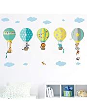 decalmile Globos Aerostáticos de Animales Pegatinas de Pared Adhesivo Decorativos para Habitación Infantiles Guardería Niños Bebés