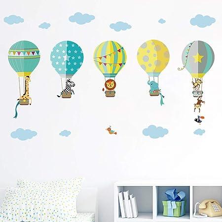 decalmile Montgolfière Animaux Stickers Muraux Girafe Zebra Amovibles  Autocollants Chambre Enfants Bébé Garderie Salon Décoration Murale