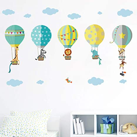 Amazon.com: decalmile Animals in Hot Air Balloons Wall ...