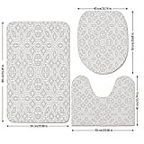 3 Piece Bathroom Mat Set,Grey-Decor,Lace-Victorian-Damask-Antique-Baroque-Design-with-Oriental-Effects-Renaissance-Art,White.jpg,Bath Mat,Bathroom Carpet Rug,Non-Slip