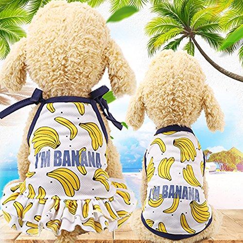 wintefei Banana Print Puppy Dog Pet Breathable Summer Bandage Ruffled Dress Vest-S