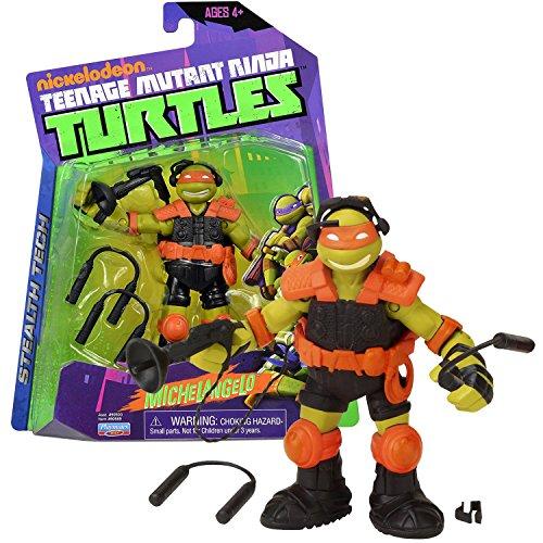 Playmates Year 2013 Nickelodeon Teenage Mutant Ninja Turtles 5 Inch Tall Figure - Stealth Tech MICHELANGELO with Eavesdropping Device and Ninchucks