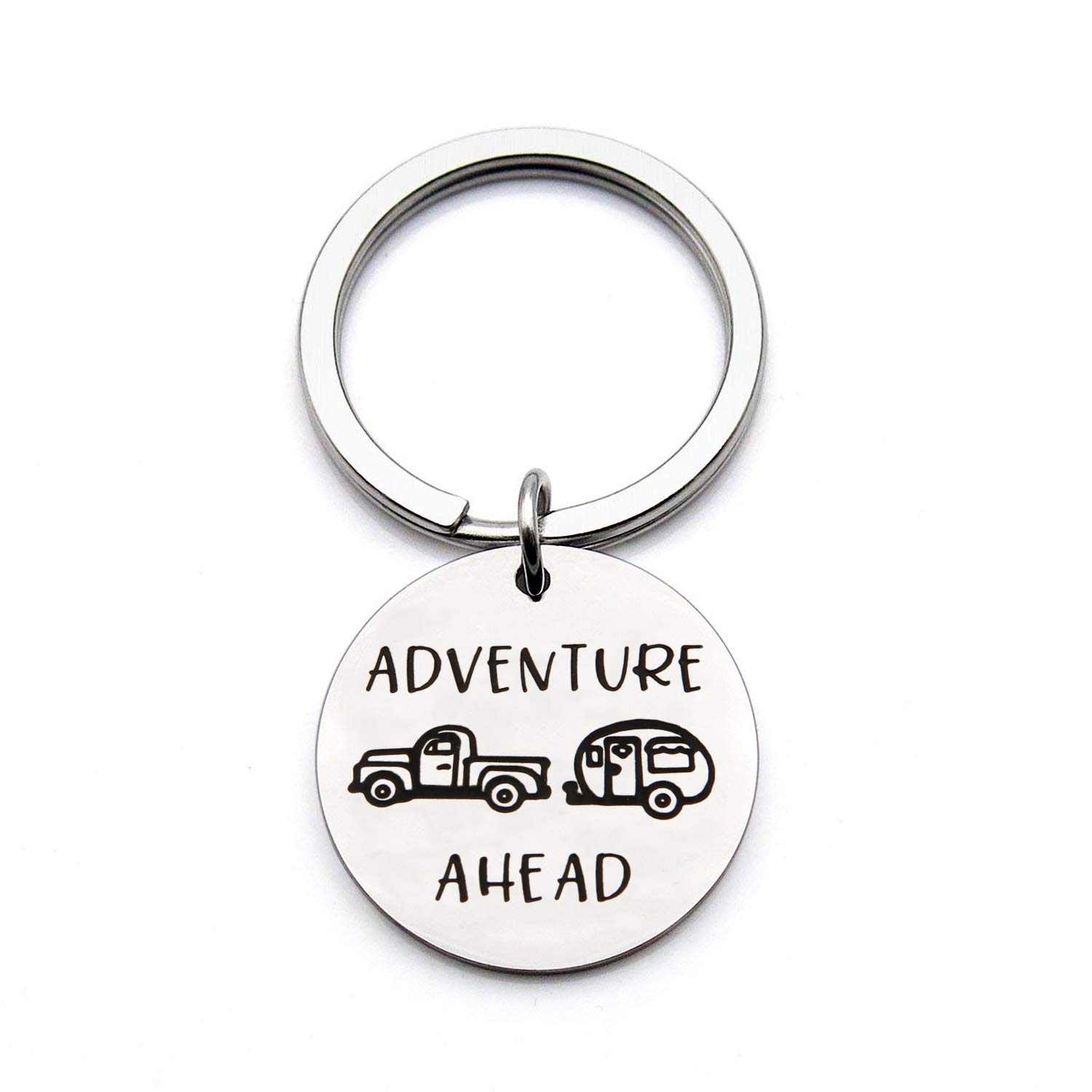 Camping Jewelry Outdoor Gifts Adventure Ahead Keychain Camp Gifts for Graduate Traveler Wanderlust (Adventure Ahead Keychain)