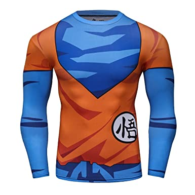 Red Plume Mens 3D Compression Long Sleeve Shirt Skin Tight Anime Printing Tee (M,