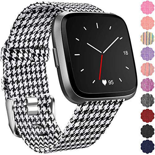 (Maledan Replacement for Fitbit Versa Bands, Canvas Strap with Stainless Steel Clasp Accessories Replacement Wristbands for Versa/Lite/SE, Women Men, Small, Black/White)