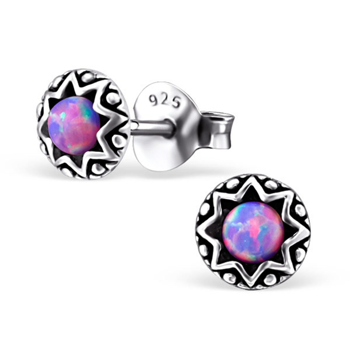 Tiny Round Star Lab Created Opal Silver Earrings Vintage Antique Style Stering Silver 925 Post Studs (E23673) (Multi Lavender)
