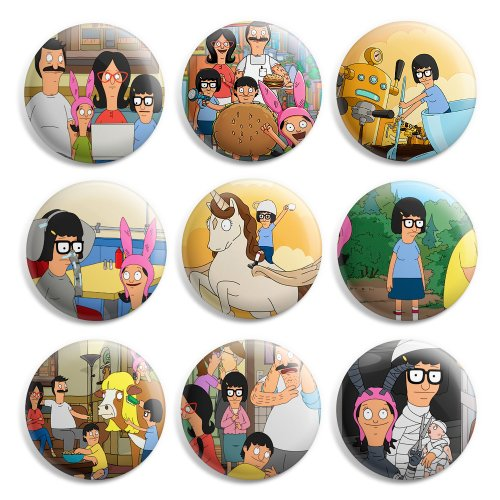 (Tina Belcher Bobs Burgers Pinback Buttons Pin Badges 1 Inch (25mm) - Pack of 9)