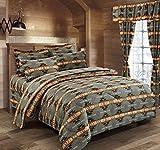Western Essence Southwest Native American Design Navajo Grey 4 Piece Comforter Set (Queen)