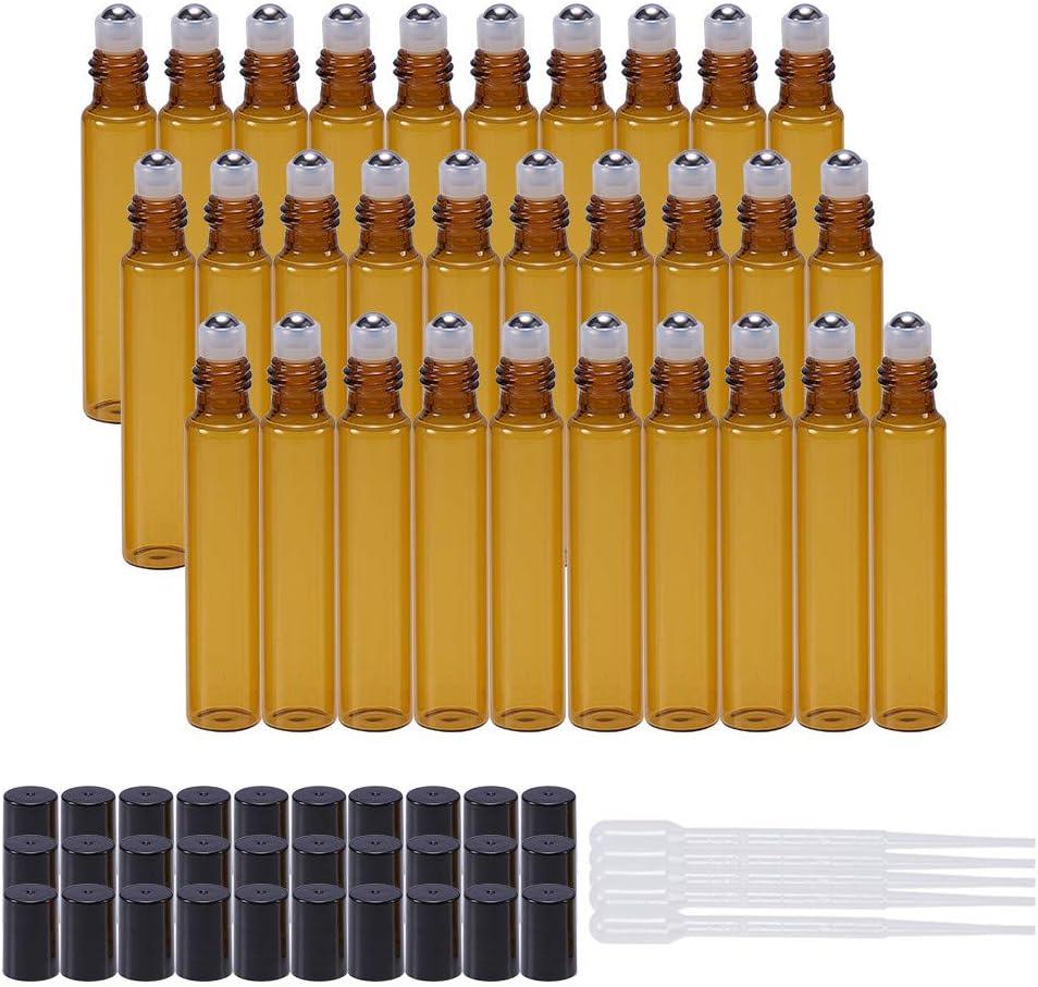 BENECREAT 30 Pack 10ml Botella de Vidrio Botellas de Rodillos de Aceites Esenciales Equipado con Cubierta Negra y 10 Pipetas, 4 Embudos, 1 Abridor