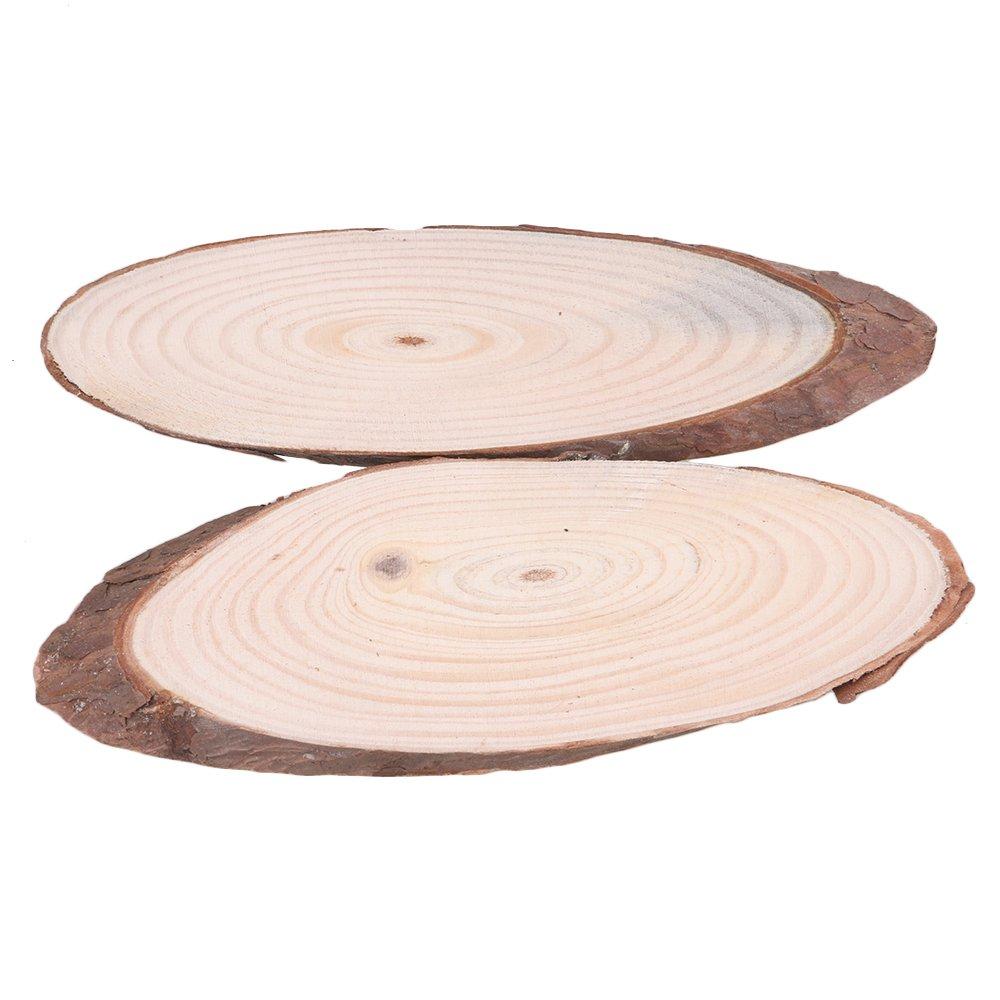 adatto per lavoretti fai da te e come rustico ornamento nuziale 4 pezzi dalle dimensioni di 20 cm lunghezza 7 cm o 8 cm di larghezza BQLZR disco realizzato in vero legno di pino con corteccia