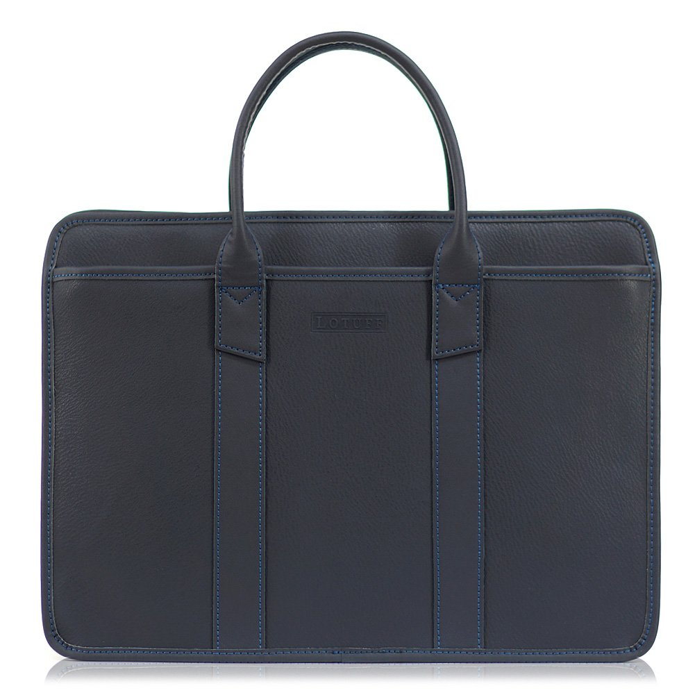 Lotuff Men's Genuine Leather Formal Briefcase 14 Inch Laptop Bag One Size Navy