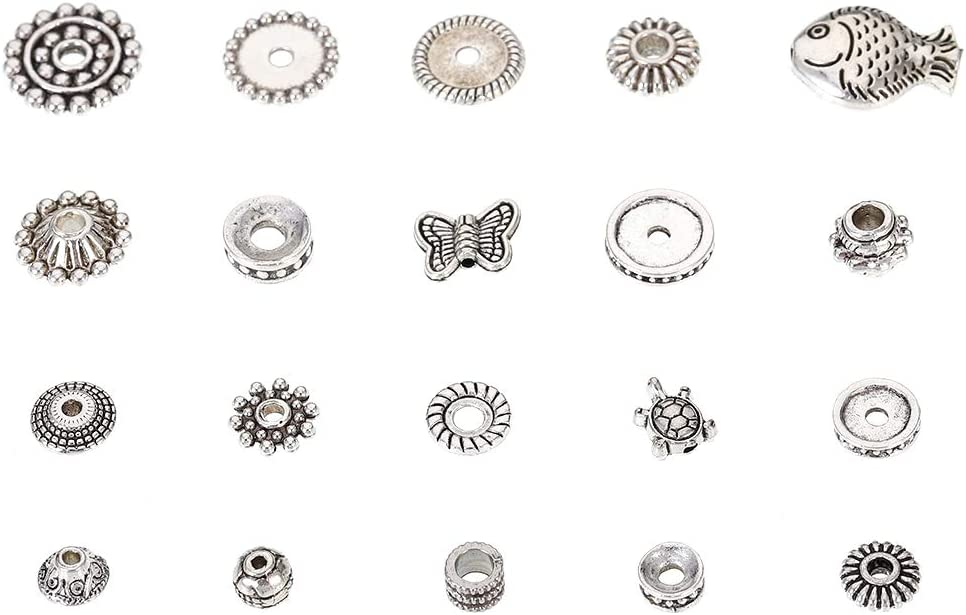 100g Mixed Spacers Tibetan Spacer Beads for DIY Bracelets Necklaces Jewelry Making metagio 200pcs Silver Spacer Beads