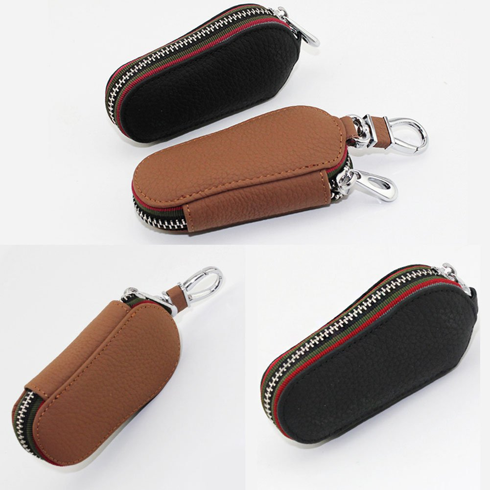 Auto Key bag in vera pelle nera auto Smart portachiavi portamonete catene custodia porta telecomando portachiavi portachiavi in custodia con zip