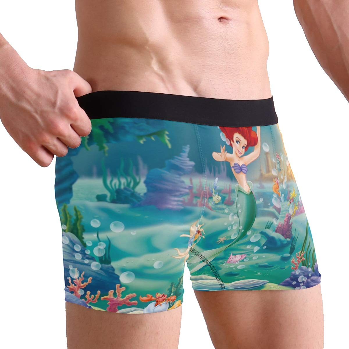 Mens Boxer Briefs Stretch Breathable Trunks Low Rise The Little Mermaid Underwear for Men Boys