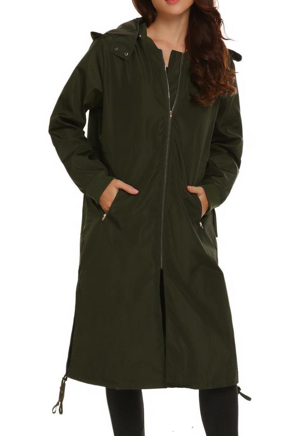 Zeagoo Women Waterproof Long Zipper Pocket Windproof Hooded Coat Jacket