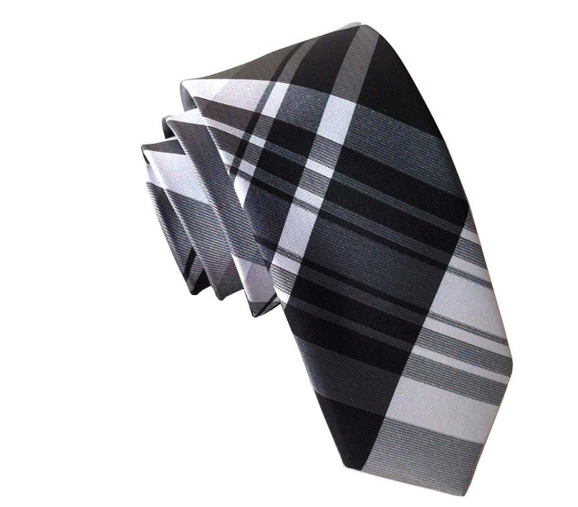 Secdtie Men's Classic Checks Black White Jacquard Woven Silk Tie Necktie 610