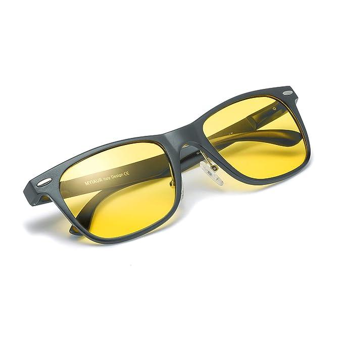 Gafas De Sol Amarillas Conducir Nocturnas para Hombre Polarizadas - Protección UV 400 (Gris)