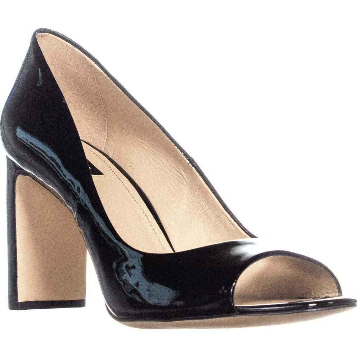 Black Patent DKNY Jade Peep Toe Heels, White